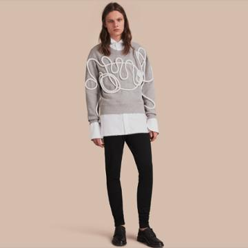 Burberry Burberry Unisex Brushed-back Jersey Sweatshirt With Rope Detail, Size: Xxs, Grey