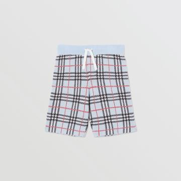 Burberry Burberry Childrens Check Merino Wool Jacquard Shorts, Size: 14y, Blue