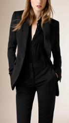 Burberry Satin-lapel Stretch Wool Jacket