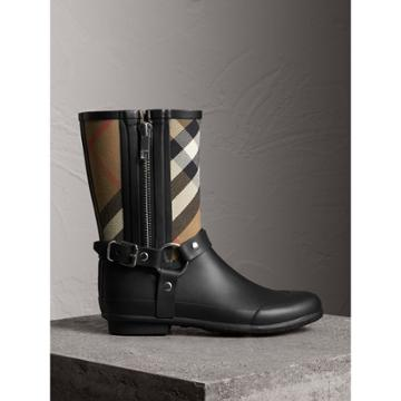Burberry Burberry Buckle And Strap Detail Check Rain Boots, Size: 39, Black