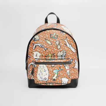 Burberry Burberry Monogram And Marine Print E-canvas Backpack
