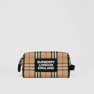 Burberry Burberry Logo Appliqu Vintage Check Travel Pouch, Beige