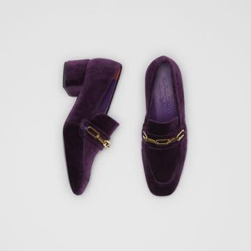 Burberry Burberry Link Detail Velvet Block-heel Loafers, Size: 36, Purple