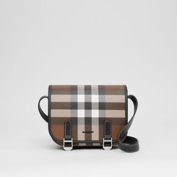 Burberry Burberry Check E-canvas Messenger Bag, Brown