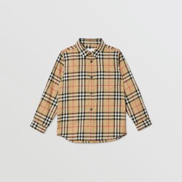 Burberry Burberry Childrens Vintage Check Cotton Flannel Shirt, Size: 14y, Beige