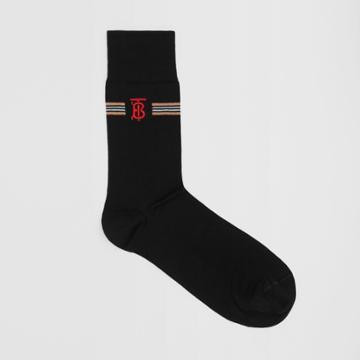 Burberry Burberry Icon Stripe And Monogram Motif Cotton Blend Socks, Black
