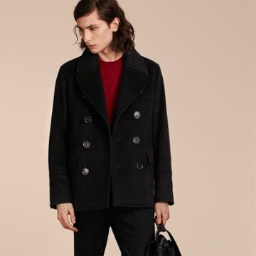 Burberry Burberry Wool Cashmere Pea Coat, Size: 42, Black