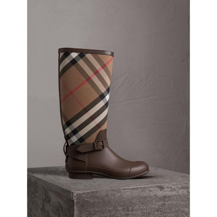 Burberry Burberry Belt Detail House Check And Rubber Rain Boots, Size: 45, Brown