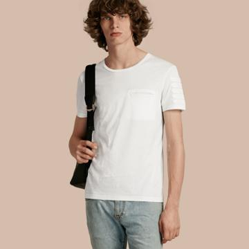 Burberry Burberry Regimental Tape Detail Cotton T-shirt, White