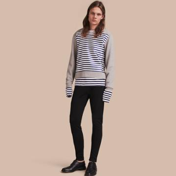 Burberry Burberry Unisex Brushed-back Jersey Sweatshirt With Striped Silk Cotton Panel, Size: Xl, Grey