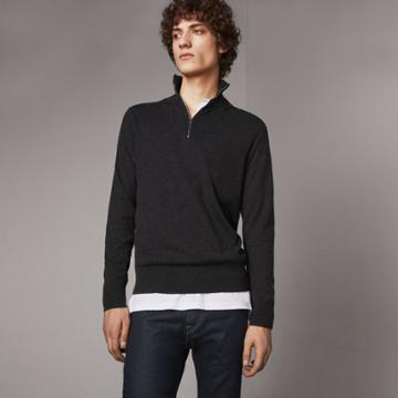 Burberry Burberry Zip-neck Cashmere Cotton Sweater, Grey