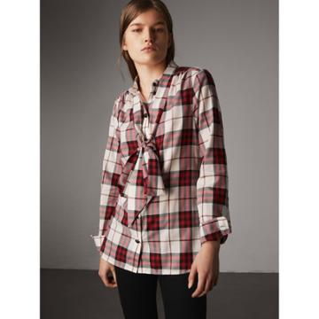 Burberry Burberry Pussy-bow Check Flannel Shirt, Size: 06, Red