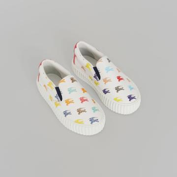 Burberry Burberry Childrens Ekd Leather Slip-on Sneakers, Size: 27, White