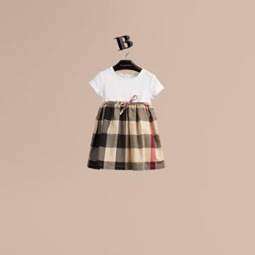 Burberry Burberry Check Cotton Jersey T-shirt Dress, Size: 3y, Beige