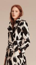 Burberry Animal Print Silk Wool Trench Coat