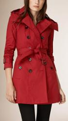 Burberry Brit Hooded Cotton Trench Coat With Warmer