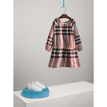Burberry Burberry Gathered Check Cotton Flannel Dress, Size: 6y, Pink