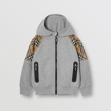 Burberry Burberry Childrens Vintage Check Panel Cotton Hooded Top, Size: 3y, Grey