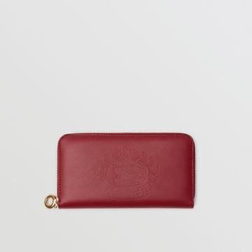 Burberry Burberry Embossed Crest Two-tone Leather Ziparound Wallet, Red