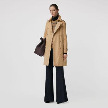 Burberry Burberry The Mid-length Kensington Heritage Trench Coat, Size: 02, Beige