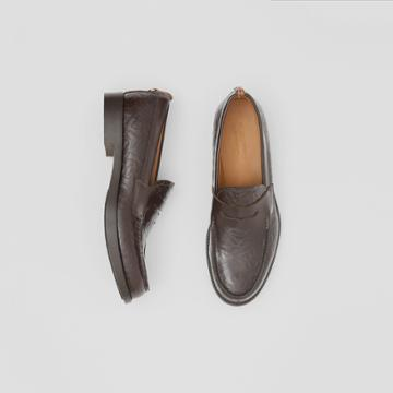 Burberry Burberry D-ring Detail Monogram Leather Loafers, Size: 43, Brown