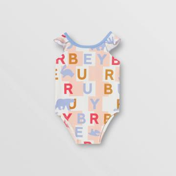 Burberry Burberry Childrens Ruffle Detail Logo Print Swimsuit, Size: 2y, Pink