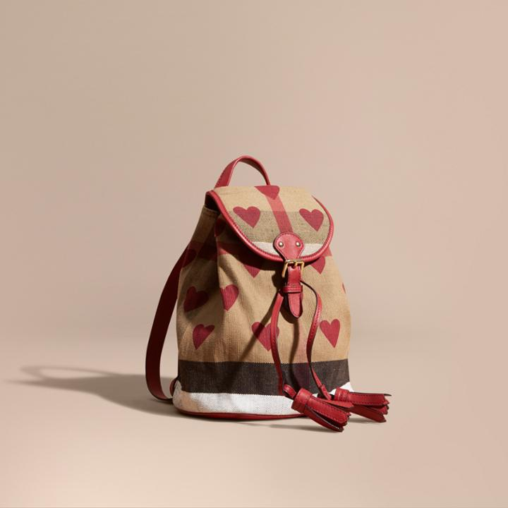 f0ddc5c4d Burberry Burberry Heart Print Canvas Check Mini Backpack, Red ...