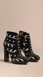 Burberry Beaded Suede Platform Ankle Boots