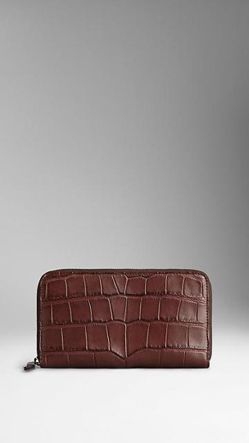 Burberry Alligator Leather Ziparound Wallet