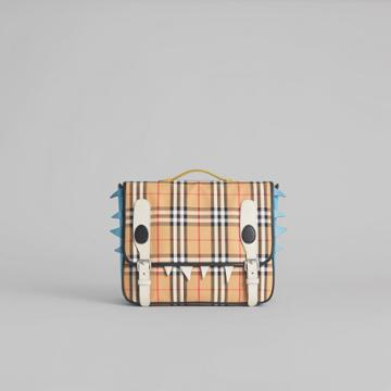 Burberry Burberry Monster Detail Vintage Check And Leather Satchel, Yellow