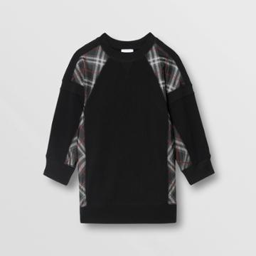 Burberry Burberry Childrens Vintage Check Panel Cotton Sweater Dress, Size: 14y, Black