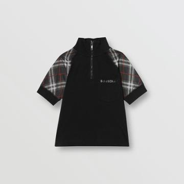 Burberry Burberry Childrens Vintage Check Detail Cotton Zip-front Polo Shirt, Size: 14y, Black