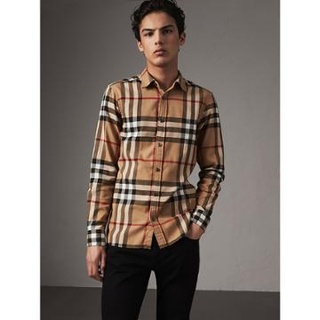 Burberry Burberry Check Cotton Flannel Shirt, Size: M, Brown