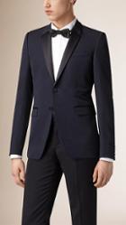 Burberry Satin Lapel Virgin Wool Tuxedo Jacket