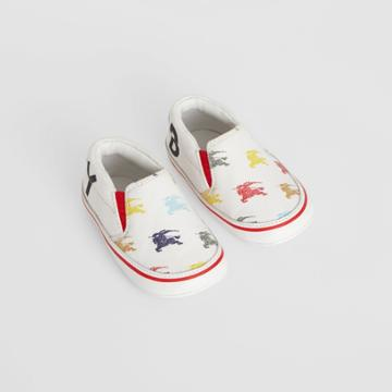 Burberry Burberry Childrens Ekd Cotton And Leather Slip-on Sneakers, Size: 19, White