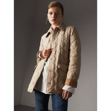Burberry Burberry Check Detail Diamond Quilted Jacket, Beige