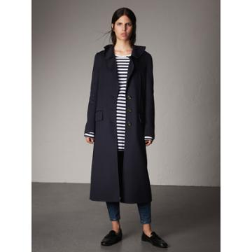 Burberry Burberry Ruffled Collar Wool Cashmere Coat, Size: 04, Blue