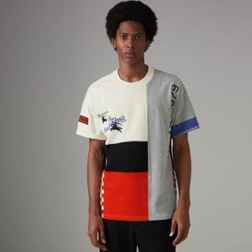 Burberry Burberry Archive Logo Panelled Cotton T-shirt, Size: Xxl, White