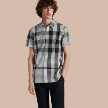 Burberry Burberry Short-sleeved Tonal Check Cotton Shirt, Blue