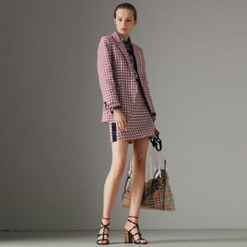 Burberry Burberry Stripe Detail Check Cotton Mini Skirt, Size: 04