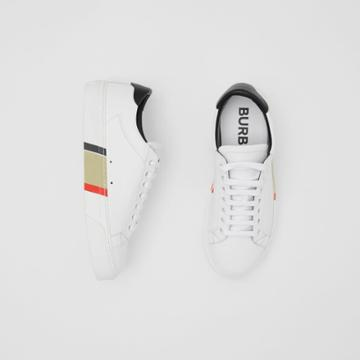 Burberry Burberry Stripe Print Leather Sneakers, Size: 38, White