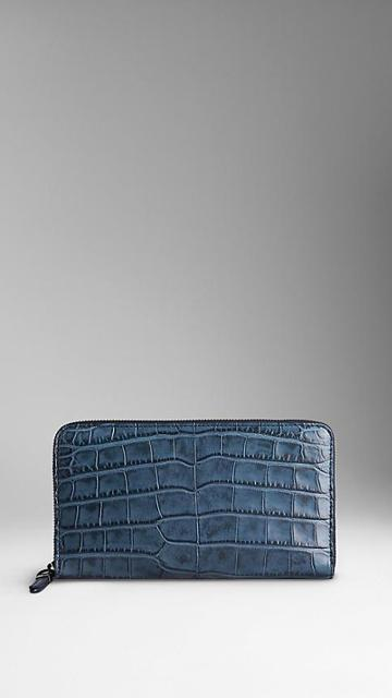 Burberry Alligator Ziparound Wallet