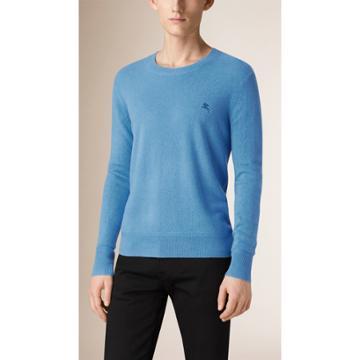 Burberry Burberry Crew Neck Cashmere Sweater, Size: Xxxl, Blue