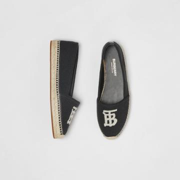 Burberry Burberry Monogram Motif Cotton And Leather Espadrilles, Size: 35, Black