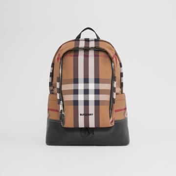 Burberry Burberry Large Check Cotton Canvas And Leather Backpack