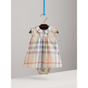 Burberry Burberry Washed Check Cotton Dress, Size: 12m, Beige