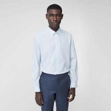 Burberry Burberry Classic Fit Striped Cotton Poplin Dress Shirt, Size: 16, Blue
