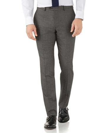 Charles Tyrwhitt Silver Slim Fit Flannel Business Suit Wool Pants Size W30 L38 By Charles Tyrwhitt