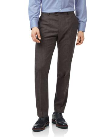 Brown Prince Of Wales Check Slim Fit Suit Trouser Size W30 L30 By Charles Tyrwhitt
