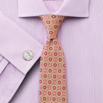 Charles Tyrwhitt Slim Fit Semi-spread Collar Egyptian Cotton Soft Touch Bengal Stripe Pink Dress Shirt Single Cuff Size 17/33 By Charles Tyrwhitt